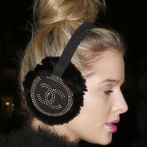 RARE Chanel Rabbit Fur and Tweed Earmuffs